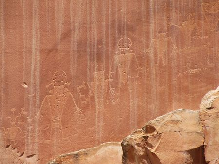 Native American drawings on canyon wall photo