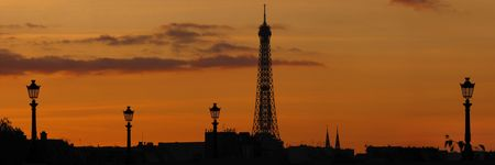 famous tour eiffel in Paris during sunset Stock Photo