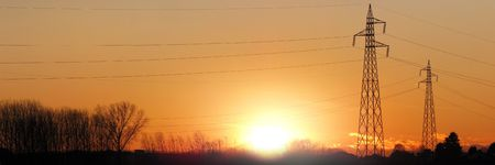 electric tower silhouette for during sunset Stock Photo - 6329593