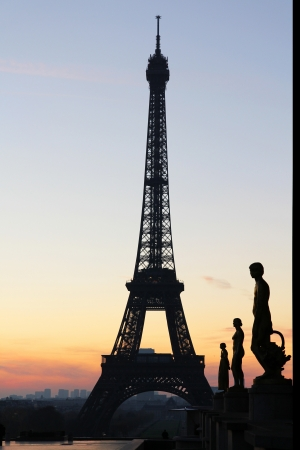 tour eiffel view during sunrise Stock Photo