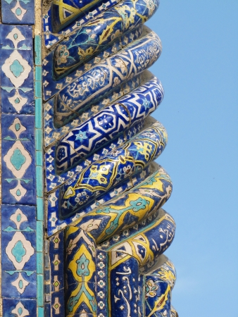 uzbekistan: detail of Minarets of Registan, Samarkand, Uzbekistan