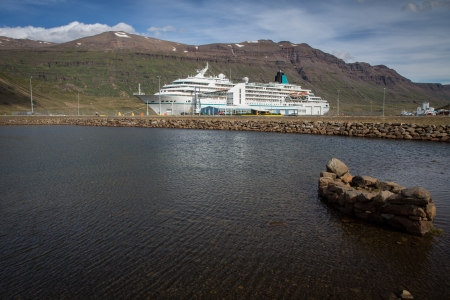 cruise ship stopped in the harbour photo