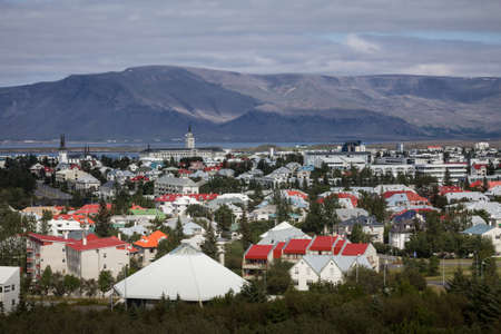 reykjavik: aerial overview of Reykjavik roofs Stock Photo