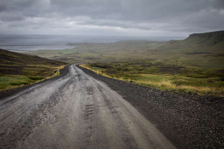 unpaved road: go down unpaved road in iceland