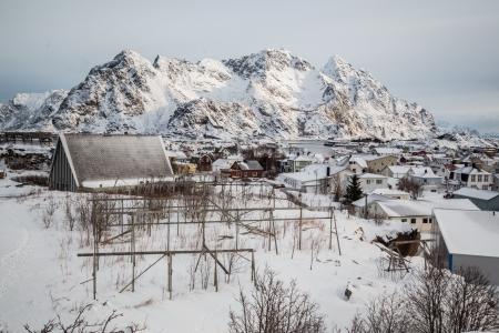 tipical village in lofoten iceland photo