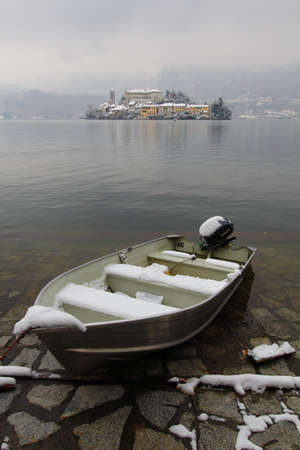 orta: orta lake during winter time