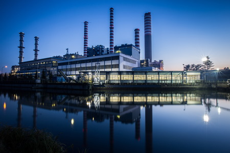 electric generating plant: electric power plant Stock Photo
