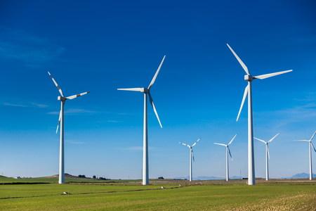 energia electrica: parque e�lico para un futuro sostenible Foto de archivo