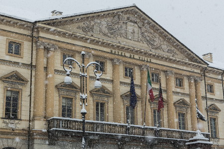 central government: Aosta City hall in winter time