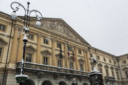 aosta: Aosta City hall in winter time