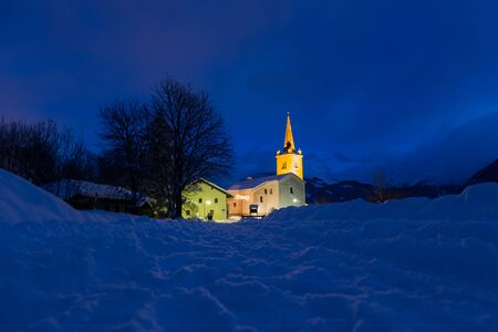 lighted: lighted church in the snow