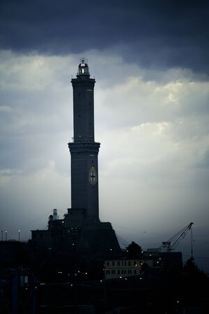 nags: Genova lighthouse with dramatic sky Stock Photo