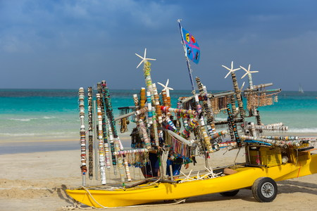 ambulant: itinerant shop on the beach Stock Photo