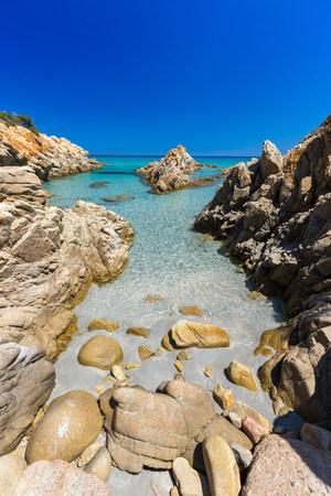 rocks water: transparent sea in Sardina Island Stock Photo
