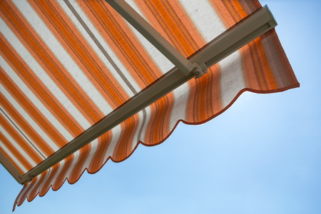 protects: awning protects from hot sun Stock Photo