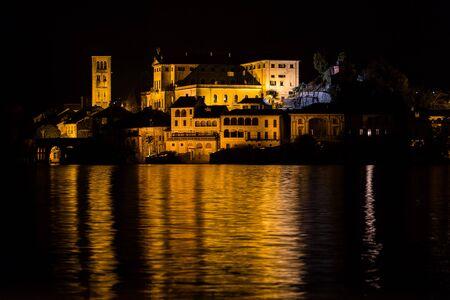 orta: orta island monastery at night Stock Photo