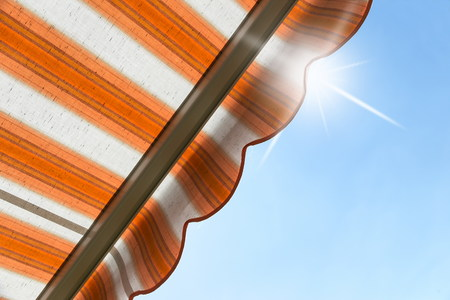 an awning: awning protects from hot sun Stock Photo