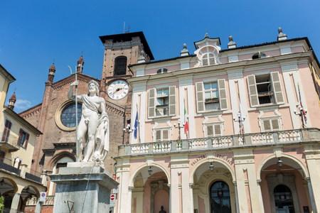 italian politics: Main square in Moncalieri town Stock Photo