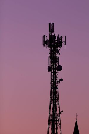high tower  for broadcasting transmittion Stock Photo
