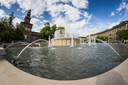 decoraton: Castello Sforzesco with fountain, Milan
