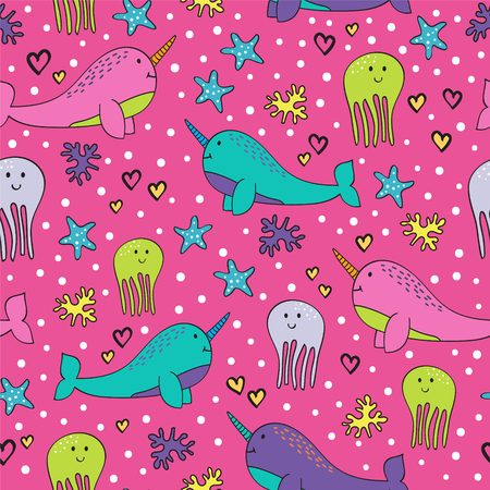 Fun Pink Narwhal Pattern with Jellyfish Seamless Repeating Vector Illustration Ilustracja