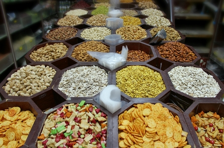 bur dubai: Bur Dubai, Dubai: traditional arabic spices and nuts Stock Photo