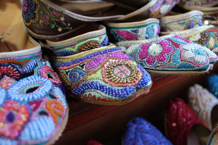 bur dubai: Bur Dubai, Dubai: traditional arabic women footwear Stock Photo