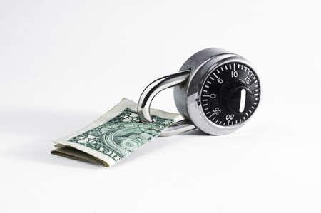 Locked Dollar Bill on White Isolated 스톡 콘텐츠