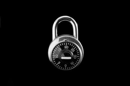 combination: Combination lock on black isolated