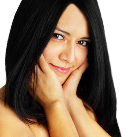 Beautiful spa woman against a white background. Stock Photo