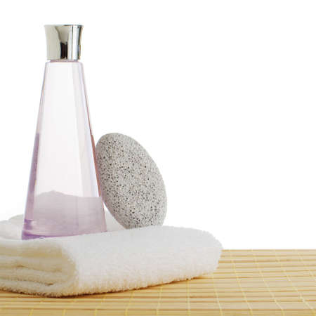 Bath products on display against a white background. 版權商用圖片