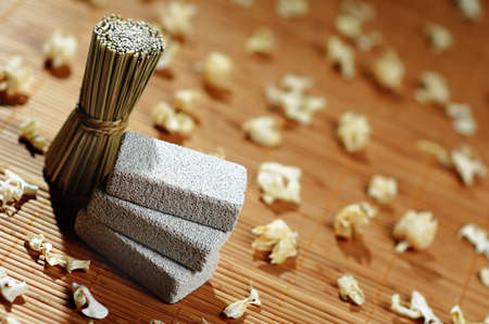 revitalize: Pretty spa display  on a bamboo mat. Stock Photo