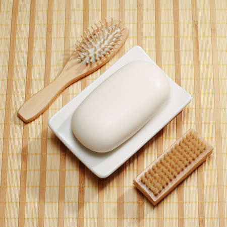 revitalize: Spa display on a bright reed mat.