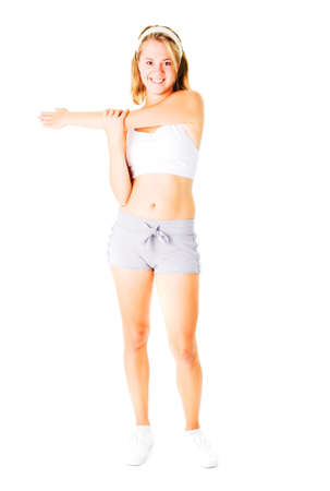 Young woman working out on a white background, from a complete series.