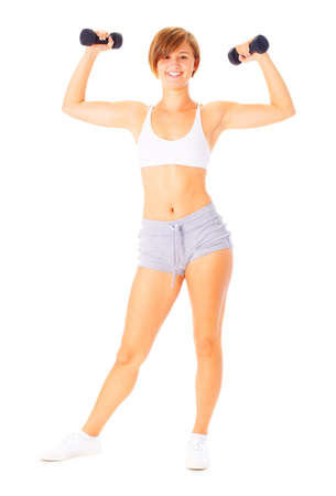 Young woman isolated on white lifting weights, from a complete series of photos. photo