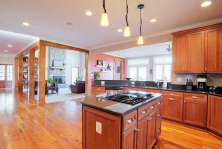 kitchen cabinets: View of a large upscale kitchen with hardwood floors and modern fixtures. Horizontal format.