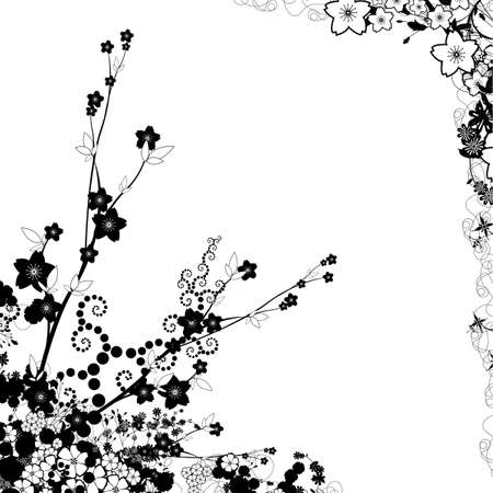 Abstract flowers in white background with many leafs