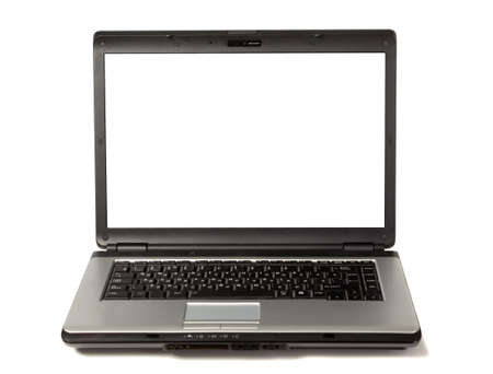 There is silver laptop with blank white screen