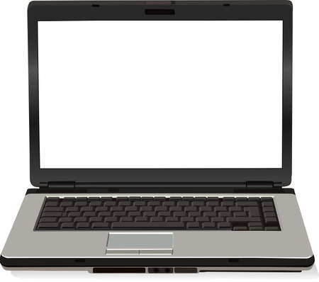 There is a gray vector laptop computer Vector
