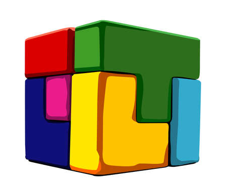 There is puzzle cube of various shapes Illustration