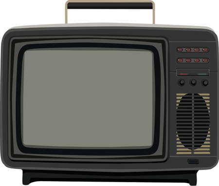 crt: There is an old black tv, vector Illustration