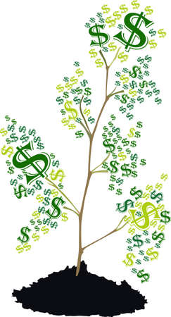 There is a tree of dollar symbol growing, vector