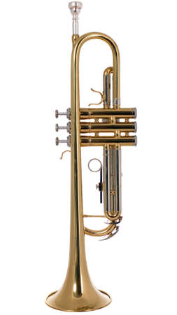 There is a musical instrument trumpet, new and shining