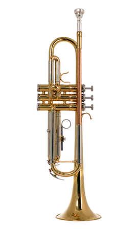 instrumentos musicales: Hay un instrumento musical de trompeta, nuevo y brillante Foto de archivo