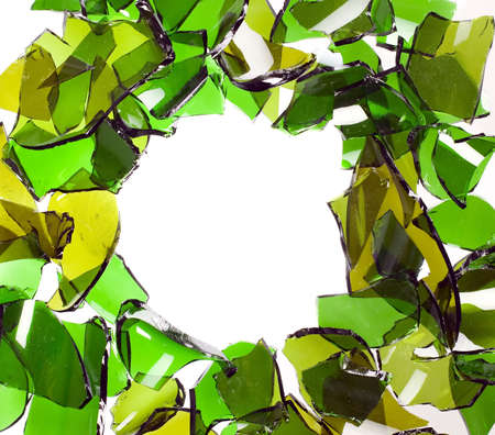 shattered: A composition of broken bottle glass, main color is green