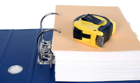 metre: Block of documents with a yellow metre