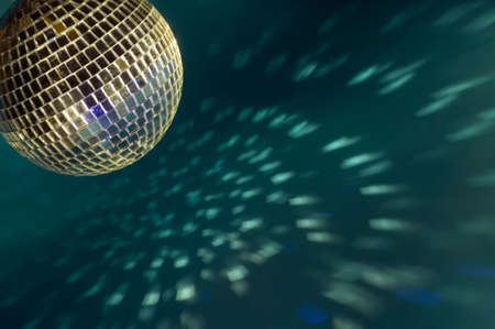 there: There is a disco ball on background