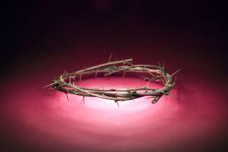 corona de espinas: Corona de madera con espinas, concepto religioso Foto de archivo