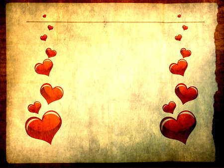 Vaus size heart shapes on paper background Stock Photo - 6910156
