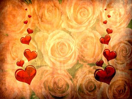 Vaus size heart shapes on rose background Stock Photo - 6910328